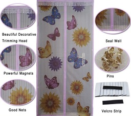 Mosquito net with butterflies and sunflowers